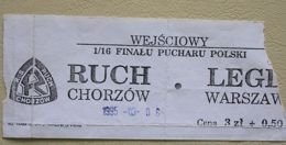 Ruch Chorzow - Legia Warsaw 25.10.1995 - Polish Cup second round match ticket